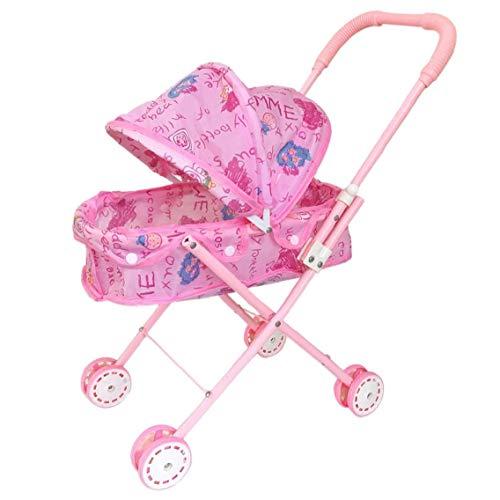 Plegable Muñeca cochecito con capucha adorable muñeca del cochecito de niño de peso ligero de rosa de bebé de juguete cochecito para el bebé embroma el regalo para los niños Los niños pequeños