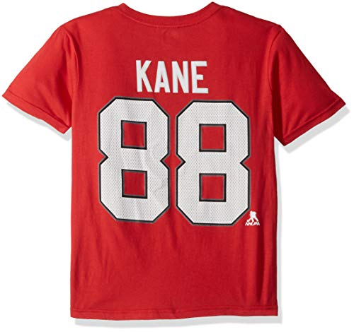 OuterStuff NHL by NHL Chicago Blackhawks Youth Boys Patrick Kane- Name & Number Short Sleeve Tee, Red, Youth Large(14-16)