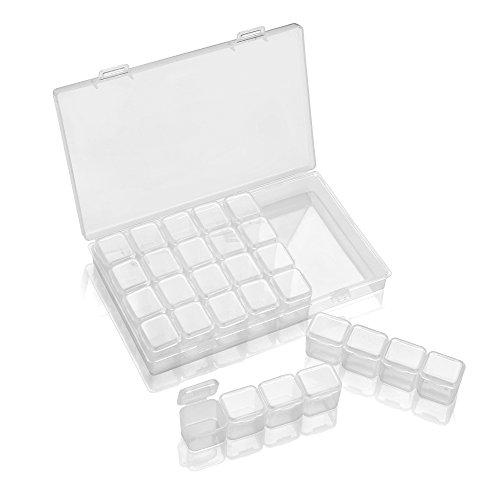 Vangonee Aufbewahrungsbox, 28 Stück, nützliche Gitter-Aufbewahrungsboxen für Diamant-Schmuck, Nagelkunst-Zubehör