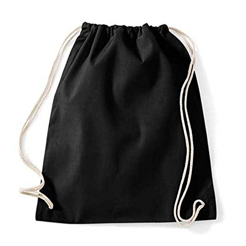Turnbeutel unbedruckt aus Baumwolle 12 Farben verfügbar Sportbeutel (schwarz)