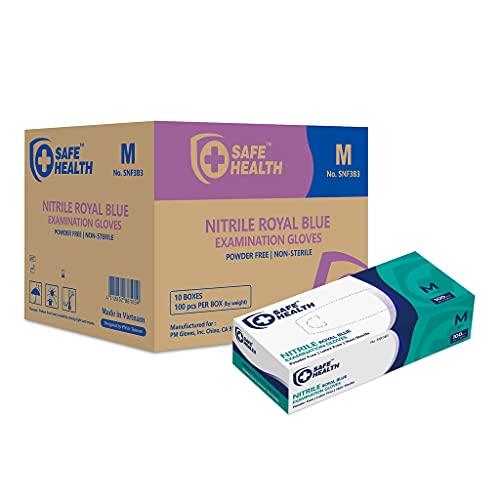 SafeHealth Blue Nitrile Exam Gloves-Medium   3.5 Mil Case of 1000   Powder-Free Latex-Free   Finger Textured-Disposable-Medical Grade   Food-Tattoo-Nursing-Cleaning