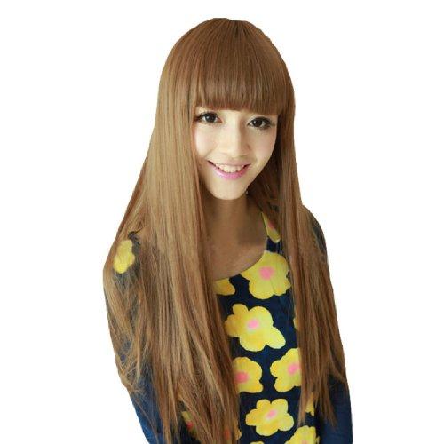 Dayiss® Perruque Femme Longs Lisse Costume Carnaval Imitation parfaite Blonde