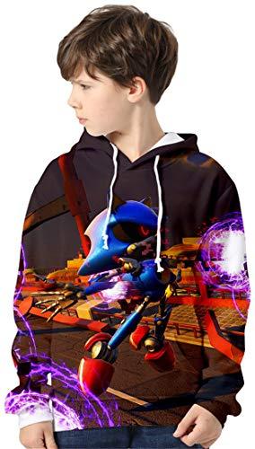 Silver Basic Niños Sonic The Hedgehog Traje de Sudadera con Capucha Sonic Adventure Teens Sudadera Impresa en 3D Sonic Poster Sudadera Jersey de Punto para Niños 140,82Sonic Marrón-2