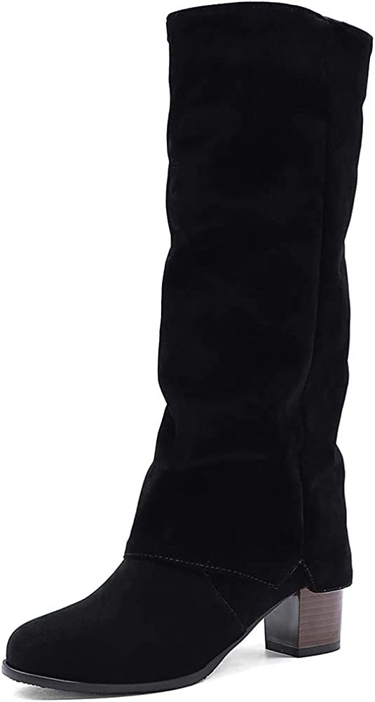 Vimisaoi Knee high Boots for Women, Chunky Mid Heel Soft Pull on Round Toe Suede Boots Mid Calf Boots