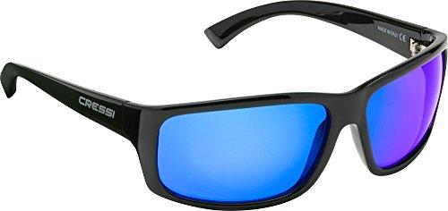 Cressi Morfeo Sonnenbrille, Glänzend Schwarz/Verspiegelt Linsen Blau, One Size