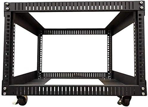 TECHTOO Server Rack 6U Standing Open Frame Rack with 4 Wheels 4 Posts 19Inch Server Equipment Rack Heavy Duty Cold Rolled Steel for Network Servers & AV Gear (6U)