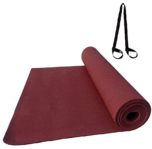 Effingo Yoga MAT Non Slip Yoga Mat Very Surface Sticky with Yoga mat Carry Strap for Gym, Workout, Yoga aasan (Cherry, 3MM)