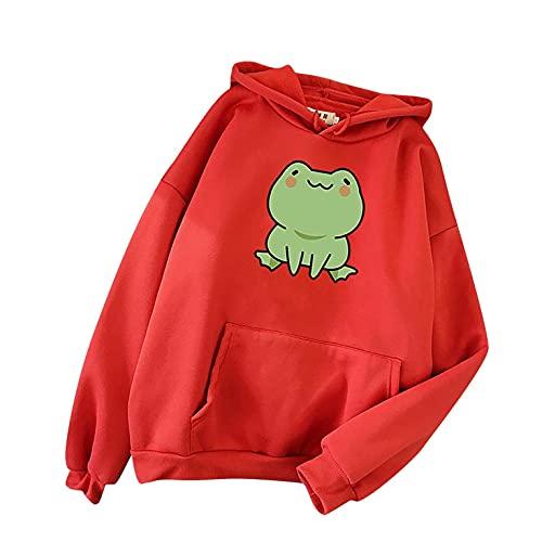 Aniywn Women s Girl s Cute Frog Hoodie Pullover Loose Fit Cosplay Costume Tops Skateboard Frog Printed Long Sleeve Hoodies Red