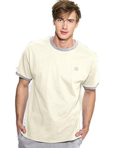 Champion Cotton Jersey Men Ringer T Shirt,Chalk White/Oxford Gray,Small