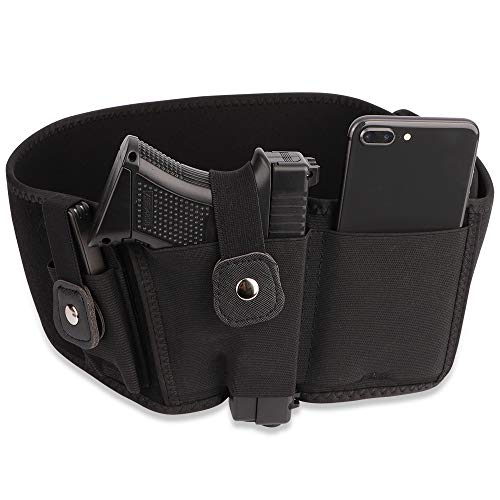 EVISTR Belly Band Gun Holster for Concealed Carry 2 Magazine Pocket Upgraded Waistband Holster for Men and Women, Compatible with Gun Smith, Glock 19, 17, 42, 43, Ruger LCP, and Similar Sized Guns