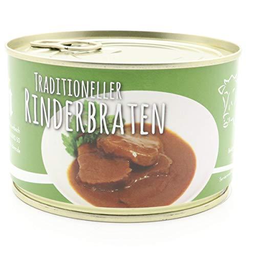 2 X Konserve Diem 400g Braten vom Rind - Rinderbraten - Klassische Soße - 240g Fleisch aus der Semmerrolle je Konserve - lange haltbar (16,13€ / Kg)
