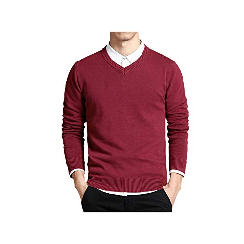 Sweater V Neck Solid Slim Fit Knitting Mens Sweaters Cardigan Male Casual Tops,Wine Red 6620,L