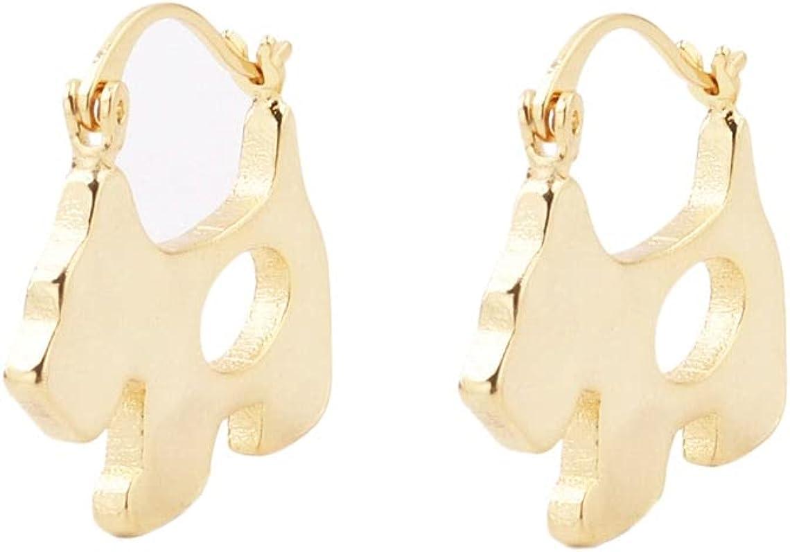 Unique Handmade 1 Pair Dainty 25.1mm 18kt Gold Filled Geometry Puppy Flat Belly Hollow Hoop Earrings, Wholesale Bulk Factory