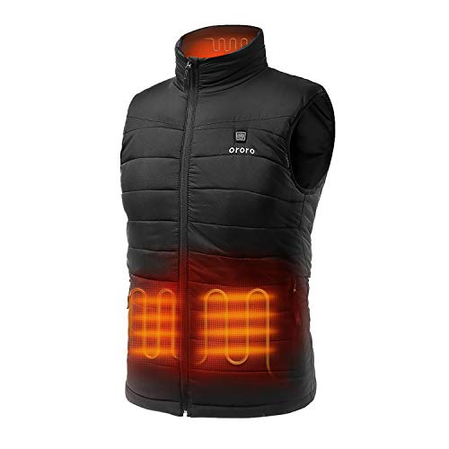 ORORO Men's Lightweight Heated Vest with Battery Pack (X-Large) Black