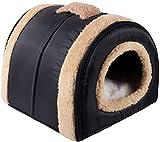 N/D Dololoo - Cama para gatos o gatos, iglú, nido de cueva de gato para gatos o gatos autocalentables 2 en 1 para casa cueva plegable (35 x 30 x 28 cm), color azul oscuro