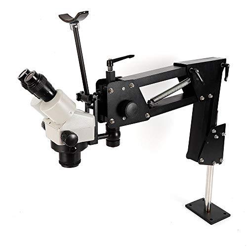 Multi-Directional Microscope Gem Diamond Setting Machine Micro Inlaid Mirror Micro-Setting Microscope Jewelry Making Tool Jewelry Inlaid Stand (Microscope with Stand, 3.35'' Bracket Hole)