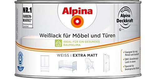alpina Weißlack für Möbel und Türen 300 ml Farbe Weiss extra matt