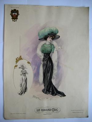 Gran lámina moda señora - Plate : MODELO BLUSA SEDA VERDE CON FALDA EN NEGRO.