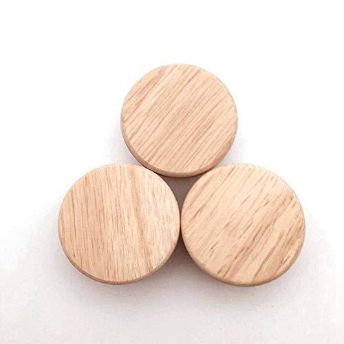 JDV 4/8/12 pomos de madera para el hogar, con tornillos, redondos, para armarios, cajones, tiradores de puertas de muebles, accesorios de hardware (4 piezas de tamaño mediano)