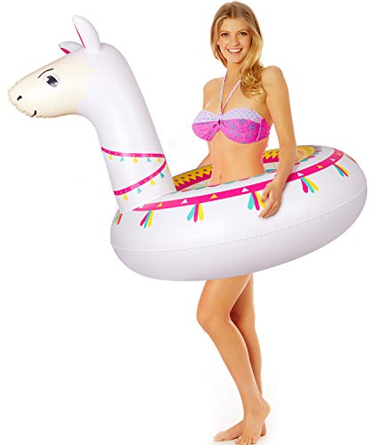 """Llama Pool Float Ride On Party Toys Alpaca Inflatable Swimming Ring Fiesta Water Supplies - for Adults or Kids 4 This llama ride-on float is a adorable addition to your pool party this summer. Made of premium polyvinyl chloride.Soft,durable and thick material. Measurement :41"""" X 37"""".Perfect for swimmers of all sizes and rated at 400 pounds."""