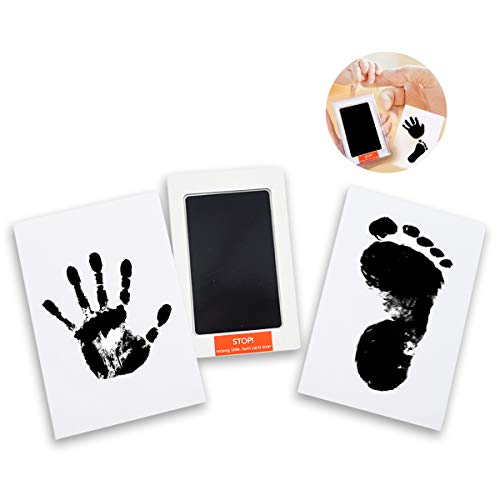 "3 in 1 Large Safe Inkless""Clean-Touch""Handprint and Footprint Ink Pad with Imprint Cards, 100% Non-Toxic & Mess Free Safe for Newborn Baby and Toddlers (Black)"