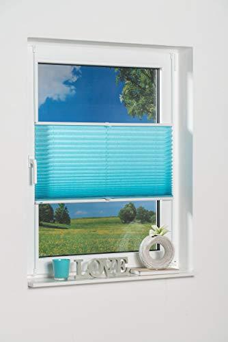 K-home Klemmfix-Plissee 70 x 130 cm (B x L) Iceblau Lichtschutz +++ Moderne Crushed Optik +++