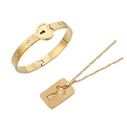 Fengteng Mode Liebe Herz Schloss Armreif Schlüsselanhänger Halskette für Sie und Ihn Matching Set Paar Schmuck (4)