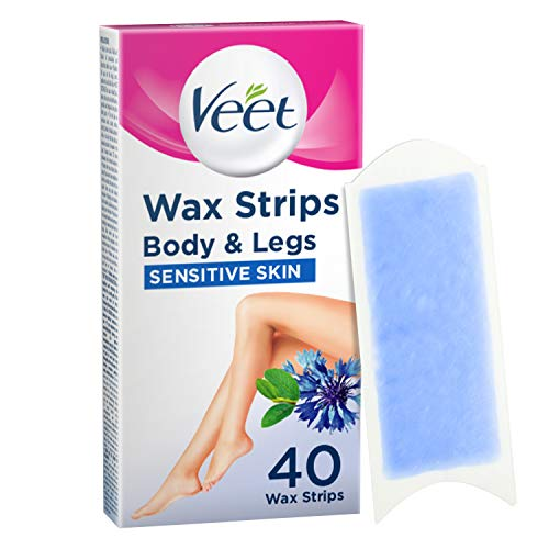 Veet Wax Strips for Sensitive Skin for Body and Legs, 20 Double Sided...