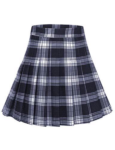 MuaDress 9005 Damen Faltenrock Karierter Hohe Taille Minirock Schulmädchen Gefaltete Skater Rock Marineblau Kariert L