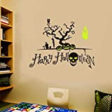 Shan-S Wall Sticker, Happy Halloween Background Wall Sticker Window Pane Home Decoration DIY Party Decal Decor for Glass Door, Ceramic Tiles in Kitchen Or Bathroom, Appliance, Car Body