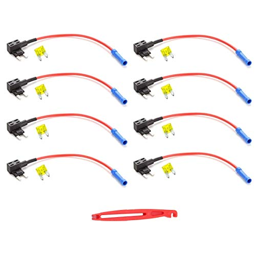 JZK 4 x Cavetto connessione fusibile lamellare + 4 x 20A fusibili piatti, portafusibili porta fusibile bypass, rubacorrente 12v fusibile auto per prelevare corrente dal pannello fusibili