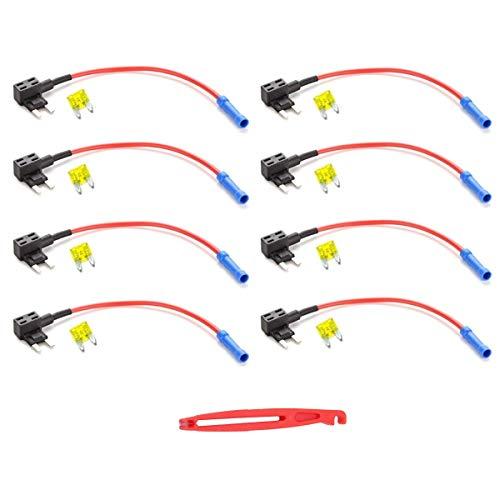 JZK 8 x Mini Zekeringhouder Circuitzekering Auto Meszekeringhouderadapter met 20A Circuit Mini Mes met Zekeringtrekker