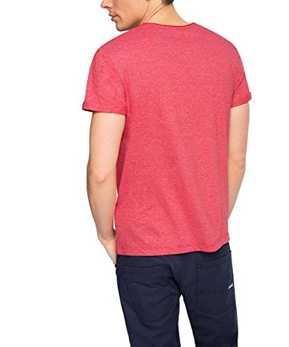 Edc by Esprit 016CC2K011-striped-Slim Fit T-Shirt, Rouge-Rot (Cherry Red 615), Medium Homme