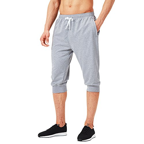 Naviskin Men's 3/4 Workout Training Jogger Capri Pants Athletic Gym Running Yoga Shorts Zipper Pockets Light Grey Size XL