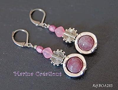 Boucles d'oreille lépidolite, style ethnique, bohême chic, crochets acier inox tons roses, idée cadeau femme