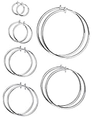 Leeq - 6 paia di orecchini finti a cerchio, non forati, per naso, labbro, orecchio