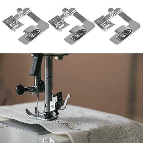 FOCCTS Juego de 3 prensatelas para máquina de coser (4/8 pulgadas, 6/8 pulgadas, 8/8 pulgadas) Adecuado para máquinas de coser de baja potencia