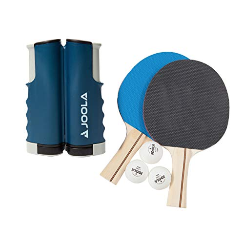 JOOLA Essentials Series Variant 2-Player Competition Ping Pong Ultimate Net and Paddle Bundle Set - Includes 1 Retractable Net, 2 Table Tennis Rackets and 3 Regulation Balls, and 1 Mesh Carrying Bag