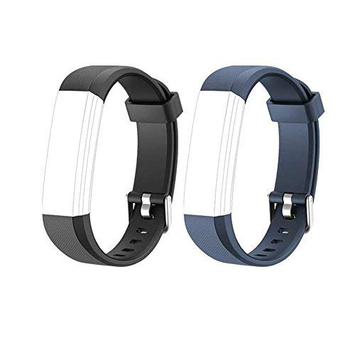 Heckia ID115 U Wristband, New Material Replacement Wristbands Strap for ID115 U Fitness Tracker,Fashionable Smart Watch (Blue+Black)