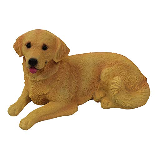 1Plus poliresina figuras Jardín Figura perro Golden Retriever, pintado a mano, Jardín Decoración Animales, resina decoración figuras