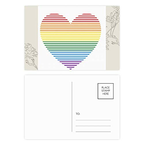 DIYthinker Regenbogen Homosexuell Lesben Gezeichnet Herz LGBT-Blumen-Postkarte Set dankt Karte Mailing Side 20pcs 5.7 Zoll x 3.8 Zoll Mehrfarbig