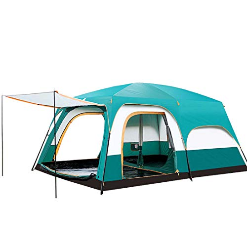 TentUltralarge 5-8 Person Double Layer One Hall Two Bedroom Super Strong Waterproof Windproof Camping Tent,Small