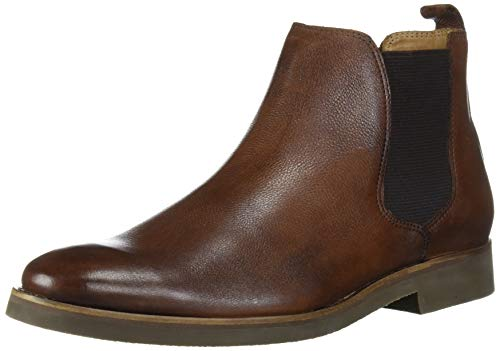 Driver Club USA Men's Geuine Leather Boot with Lug Sole Ankle, Cognac Grainy, 13 M US