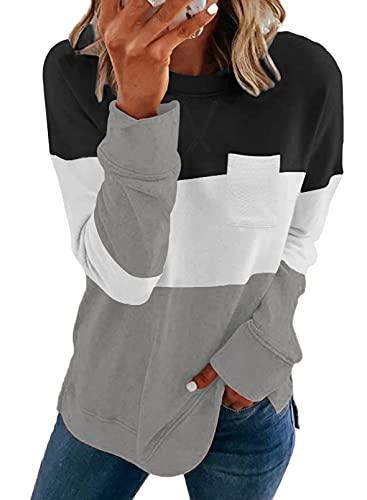 Kistore Women's Color Block Long Sleeve Sweatshirt Black Loose Fitting Pullover O-Neck Sweatshirt Shirt