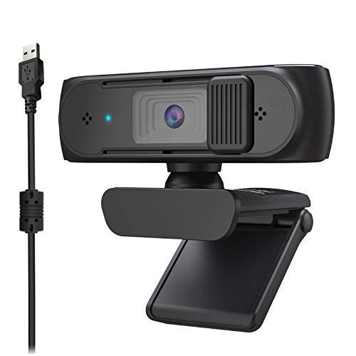 Rehomy Cámara web con cubierta de micrófono FHD USB Webcam 360 grados gran angular para grabar videollamadas