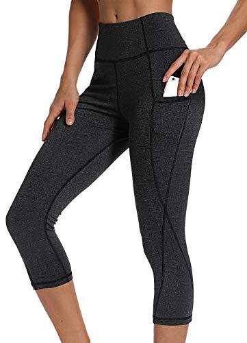 INSTINNCT Damen Doppeltaschen Sport Leggings 3/4 Yogahose Sporthose Laufhose Training Tights mit Handytasche Capris(Upgrade) - Dunkelgrau S