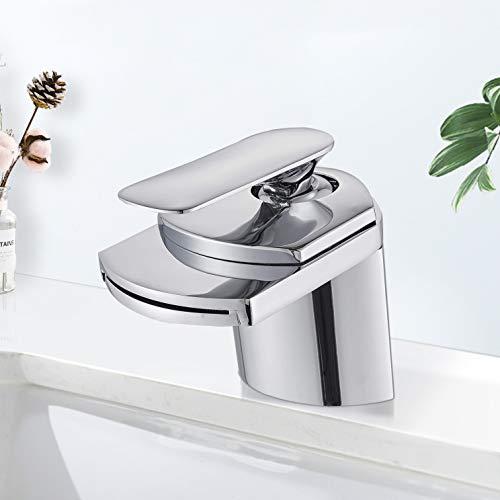 Suguword Bad Waschbecken Armatur Chrom Wasserfall Wasserhahn Badarmatur Mischbatterie Armatur Einhebelmischer Waschbeckenarmatur