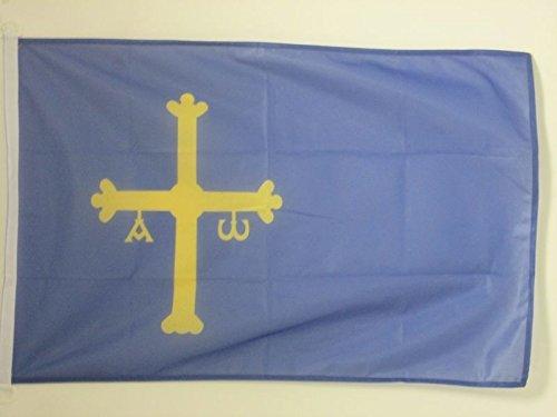 AZ FLAG Bandera del PRINCIPADO DE Asturias 150x90cm Uso Exterior - Bandera ASTURIANA 90 x 150 cm Anillos