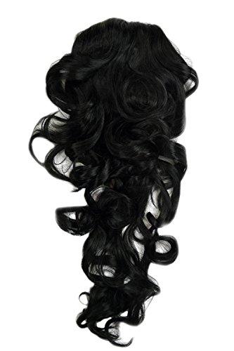 WIG ME UP ® - WK03-1 Haarteil Zopf voluminös Locken lockig sehr lang (60 cm) + Steckkämme & Gummizug Schwarz