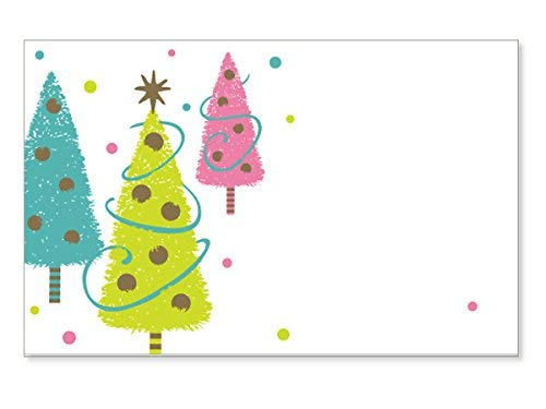 "Pack Of 50, Bright Green, Turquoise and Pink Christmas Trees w/Golden trimmings Wishes Gloss Enclosure Card 3-1/2 x 2-1/4"" Made In USA"